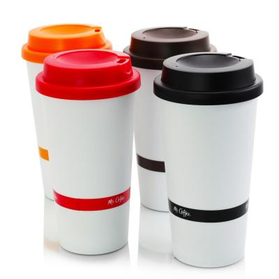 16 oz. Coffee Sensations Assorted Colors Travel Mugs with Lids (Set of 4)