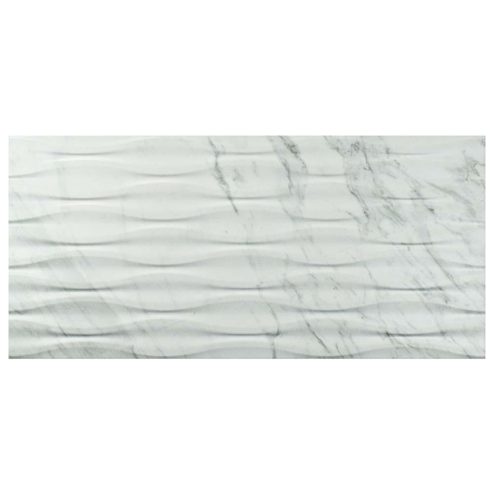 Merola Tile Eterno Carrara Wave 12 7 8 In X 25 5 Porcelain Wall 11 79 Sq Ft Case