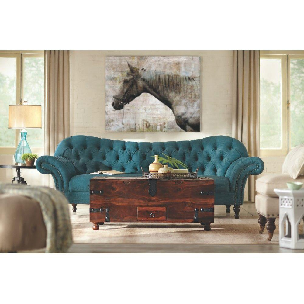 Home decorators collection arden peacock polyester sofa Home decorators collection sofa