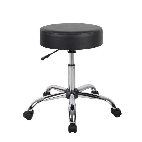 Boss Office Products Chrome Bar Stool in Black