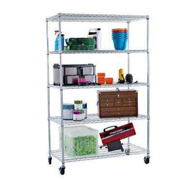 EcoStorage 48 in. x 24 in. NSF Chrome Color 5-Tier with Wheels Wire Rack Decorative Shelf