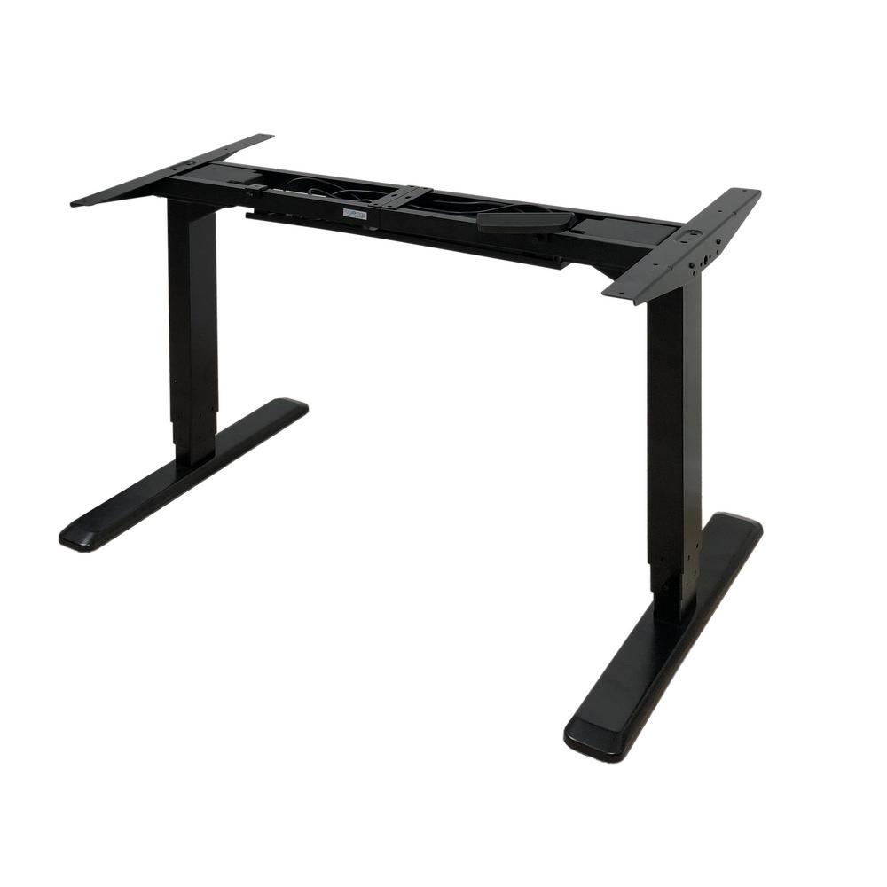 55 in. Rectangular Black Standing Desk with Adjustable Height Feature