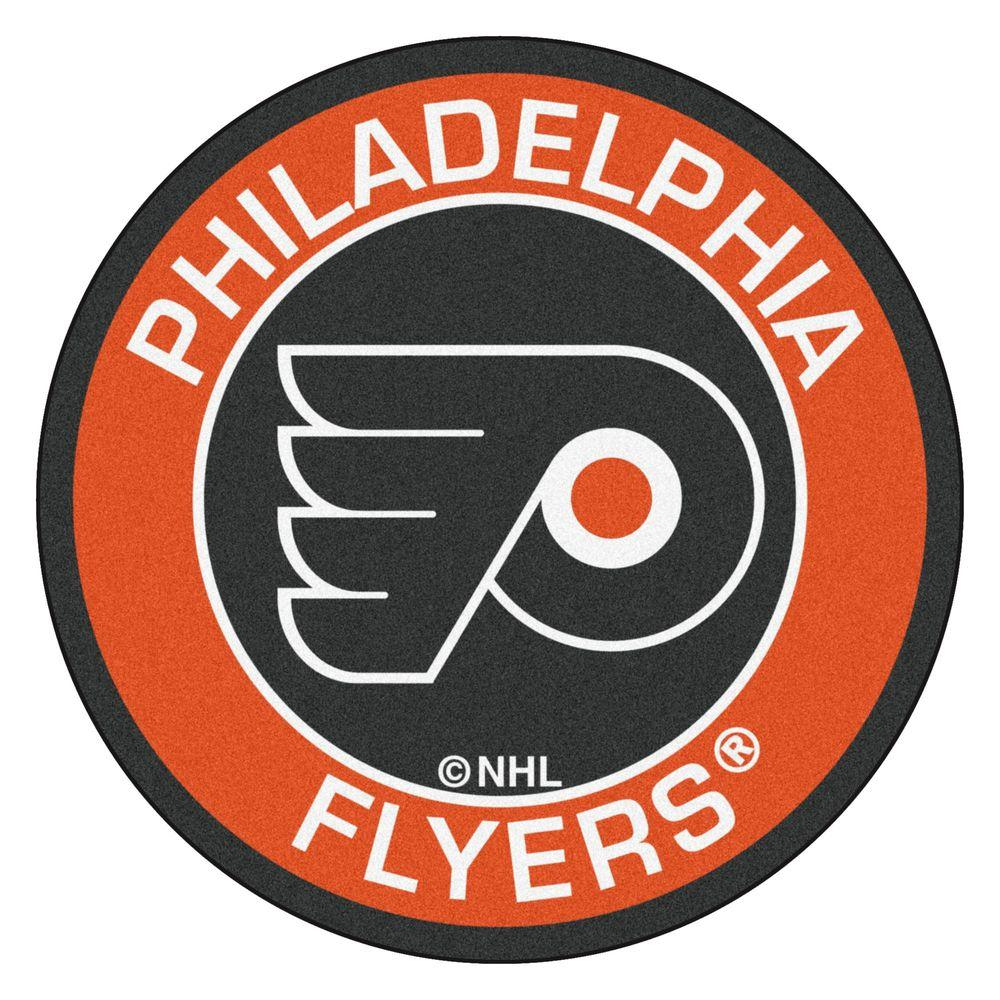 Fanmats Nhl Philadelphia Flyers Orange 2 Ft X 2 Ft Round