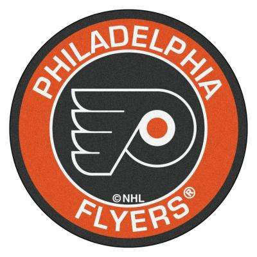 NHL Philadelphia Flyers Orange 2 ft. x 2 ft. Round Area Rug