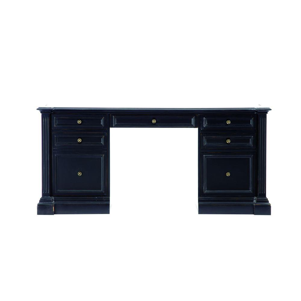 Bufford Rubbed Black Desk with Storage
