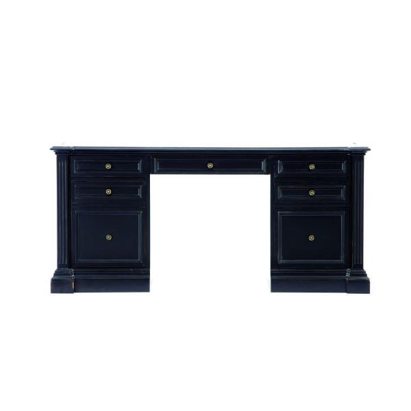 Bufford Rubbed Black Desk With Storage by Home Depot