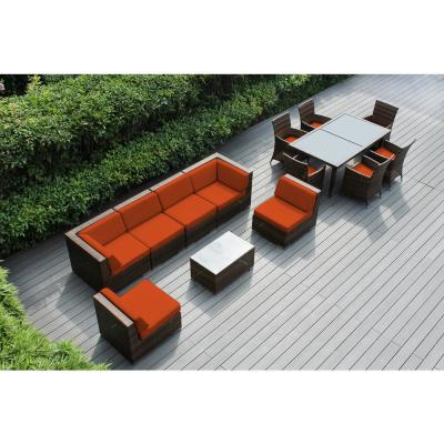 Mixed Brown 14-Piece Wicker Patio Combo Conversation Set with Sunbrella Tuscan Cushions