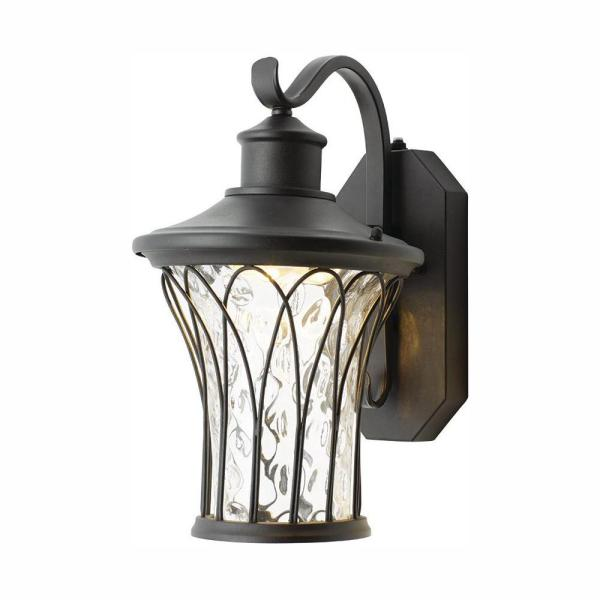 Avia Falls Black Outdoor LED Dusk to Dawn Wall Lantern Sconce