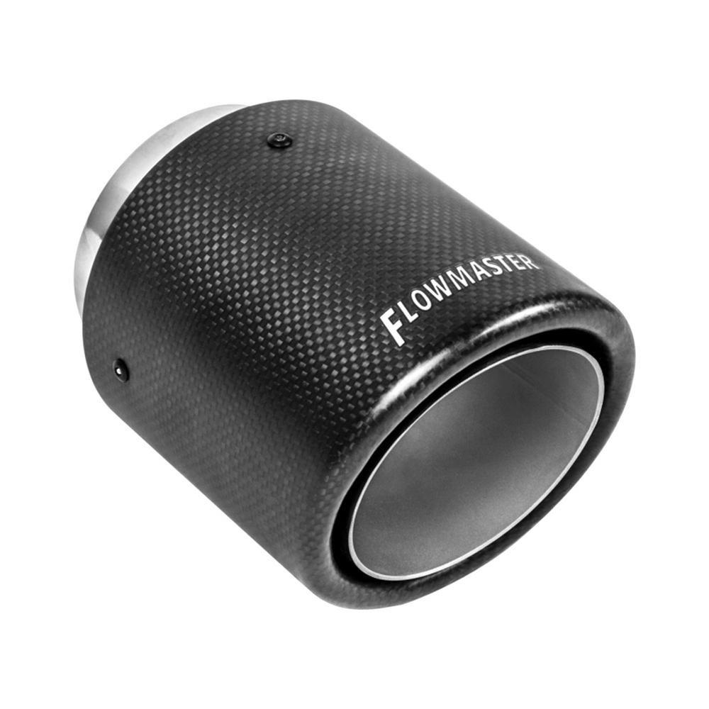 Flowmaster Exhaust Tip - 4 00in Angle Rolled Carbon Fiber/304 SS Fits  3 00in Tubing (Weld On)