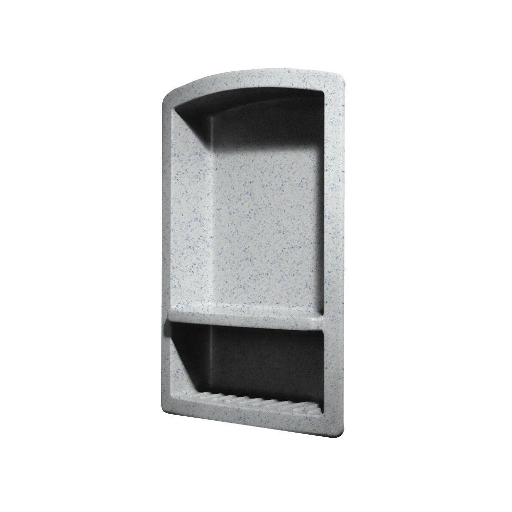 Swan Recessed Wall-Mount Solid Surface Soap Dish and Accessory Shelf in Tahiti Gray