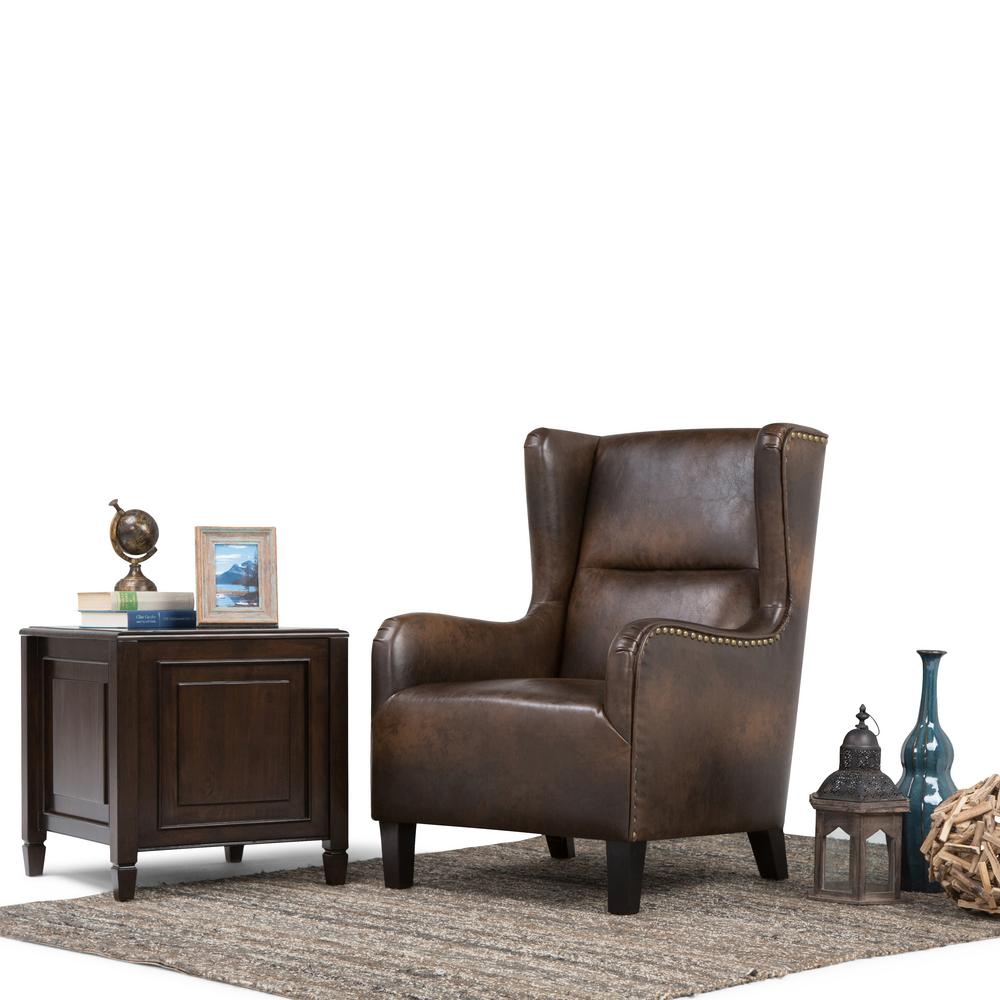 Simpli Home Taylor Distressed Brown Bonded Leather Wing