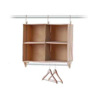 24.5 in. H 4-Cubby Organizer with Hanging Bar
