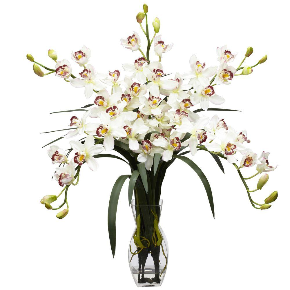 NEARLY NATURAL 31 in. H White Cymbidium Orchid Silk Flower Arrangement NEARLY NATURAL 31 in. H White Cymbidium Orchid Silk Flower Arrangement