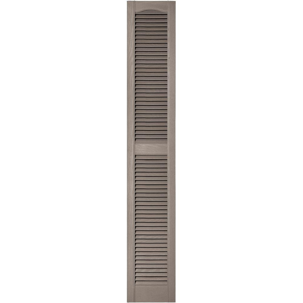 12 in. x 72 in. Louvered Vinyl Exterior Shutters Pair in