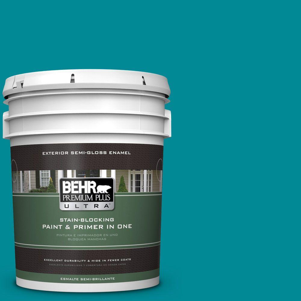 5 gal. #HDC-SM16-06 Blue Slushie Semi-Gloss Enamel Exterior Paint