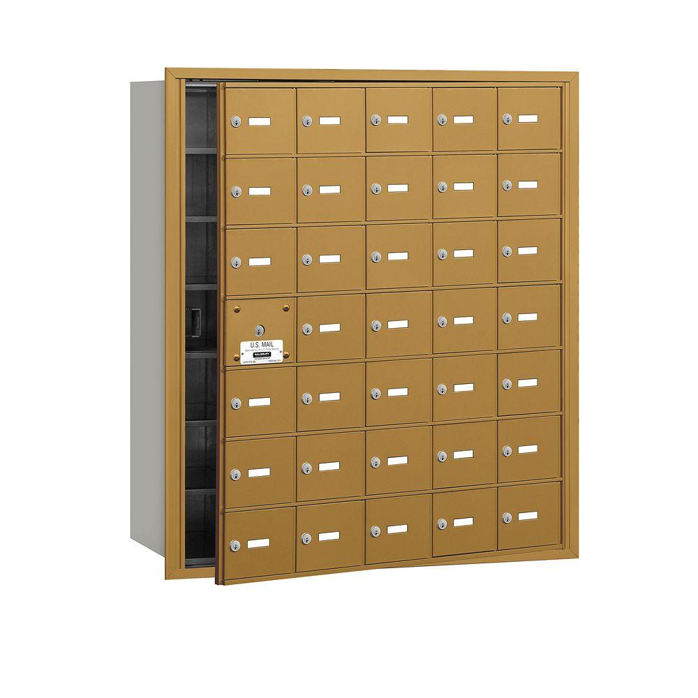 Salsbury Industries Gold USPS Access Front Loading 4B Plus Horizontal Mailbox with 35A Doors (34 Usable)