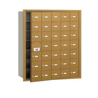 Gold USPS Access Front Loading 4B Plus Horizontal Mailbox with 35A Doors (34 Usable)