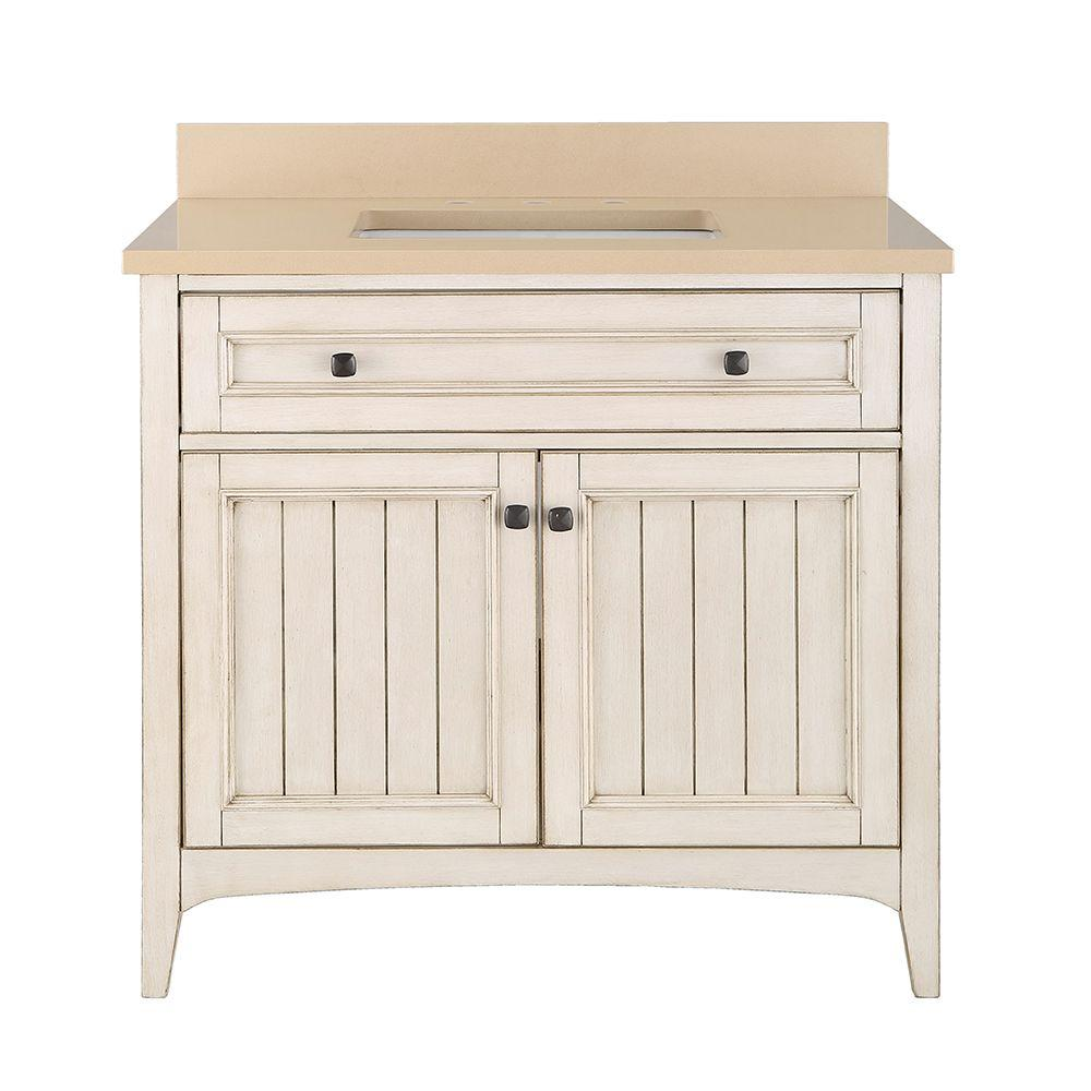 Home Decorators Collection Klein 37 In W X 22 In D Bath Vanity In Antique White With Quartz Vanity Top In Beige