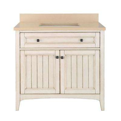 Klein 37 in. W x 22 in. D Bath Vanity in Antique White with Quartz Vanity Top in Beige