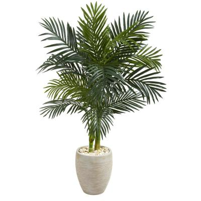 4.5 ft. High Indoor Golden Cane Palm Artificial Tree in Oval Planter