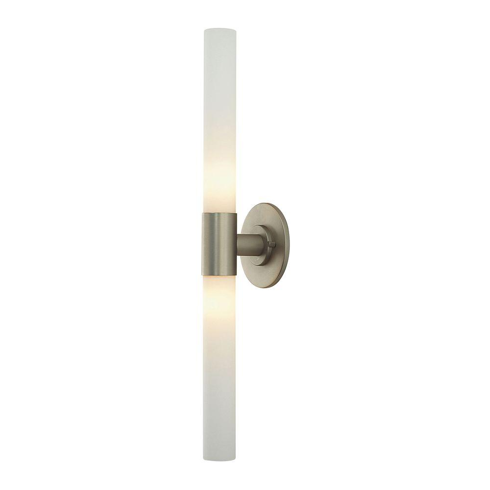 Long Cylinder 2-Light Matte Satin Nickel and White Opal Glass Vanity
