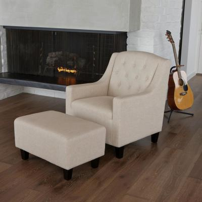 Elaine Light Beige Fabric Tufted Club Chair and Ottoman Set