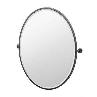 Latitude II 28.13 in. x 33 in. Framed Oval Mirror in Matte Black