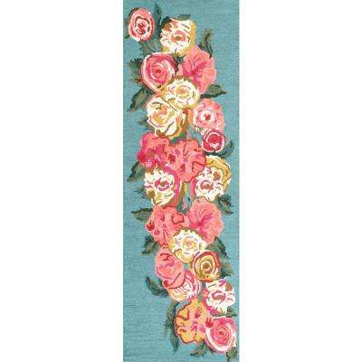 Rose Bouquet Light Blue 2 ft. 6 in. x 8 ft. Runner Rug