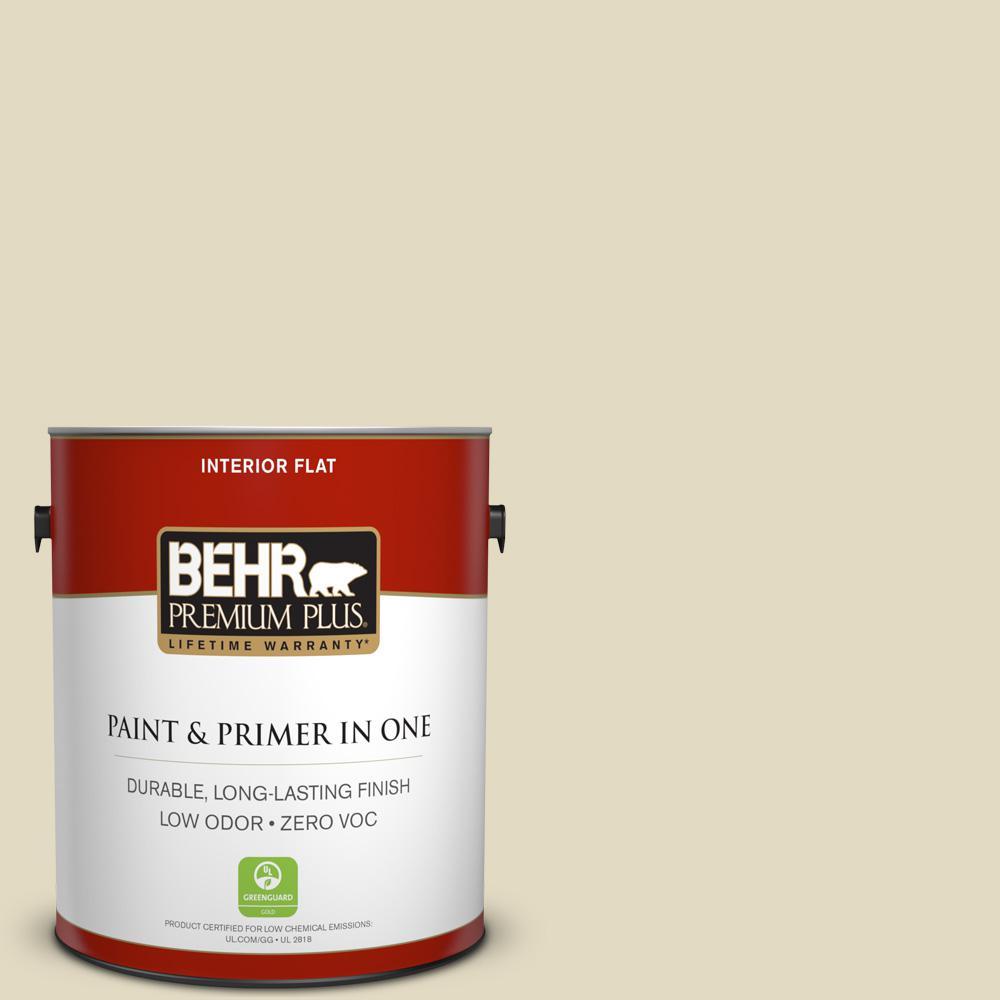 BEHR Premium Plus 1-gal. #770C-2 Belvedere Cream Zero VOC Flat Interior Paint