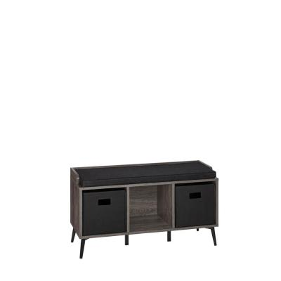 Woodbury Weathered Wood Storage Bench with Cubbies and 2-Piece Black Bin