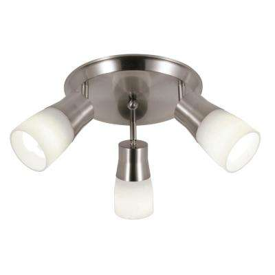 Sliva 3-Light Brushed Nickel CFL Track Lighting Kit with Frosted Shades