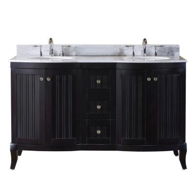 Virtu USA Khaleesi 60 in. W Double Bath Vanity in Espresso with Marble Vanity Top and Round Basin with Faucet