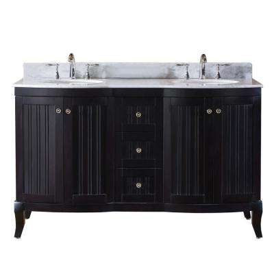 Khaleesi 60 in. W Double Bath Vanity in Espresso with Marble Vanity Top and Round Basin with Faucet
