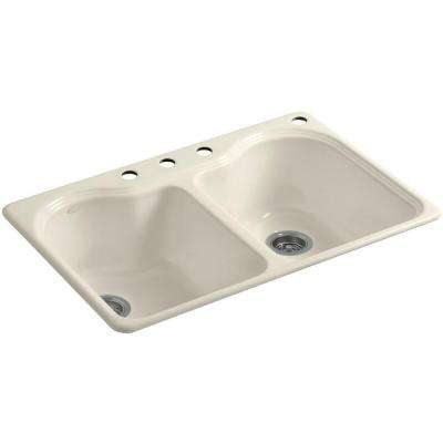 Hartland Drop-In Cast Iron 33 in. 4-Hole Double Bowl Kitchen Sink in Almond