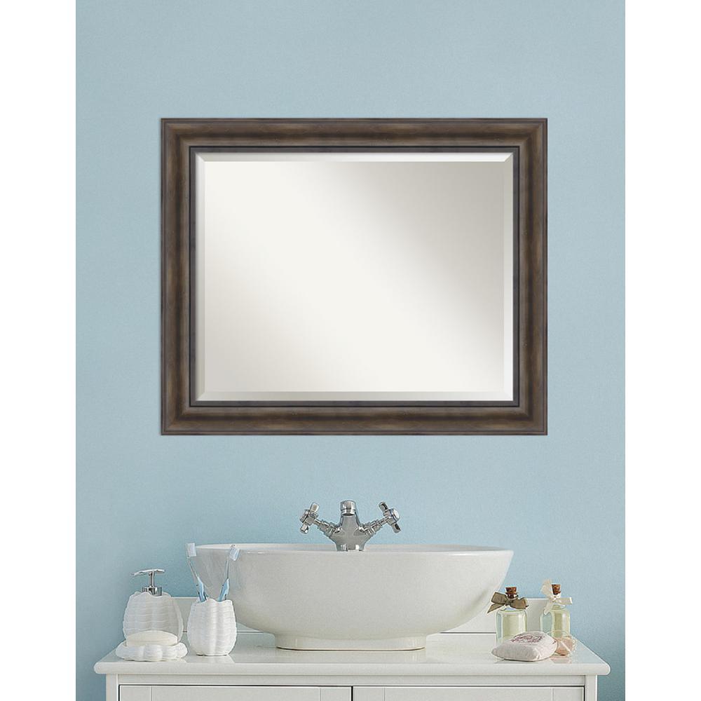 Rustic Pine Wood 34 in. W x 28 in. H Distressed Bathroom Vanity Mirror