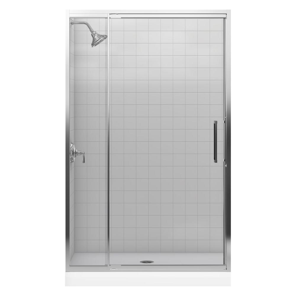 KOHLER Lattis 48 in. x 76 in. Framed Pivot Shower Door with 3/8 in. Thick Crystal Clear Glass in Bright Silver