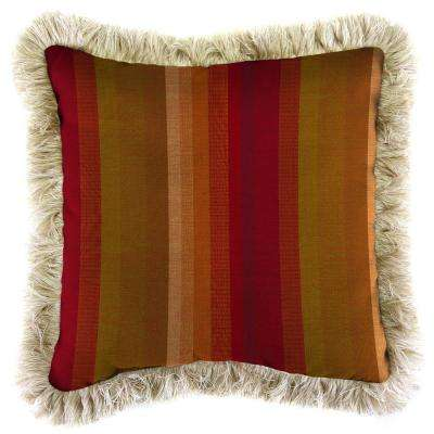 Sunbrella Astoria Sunset Square Outdoor Throw Pillow with Canvas Fringe