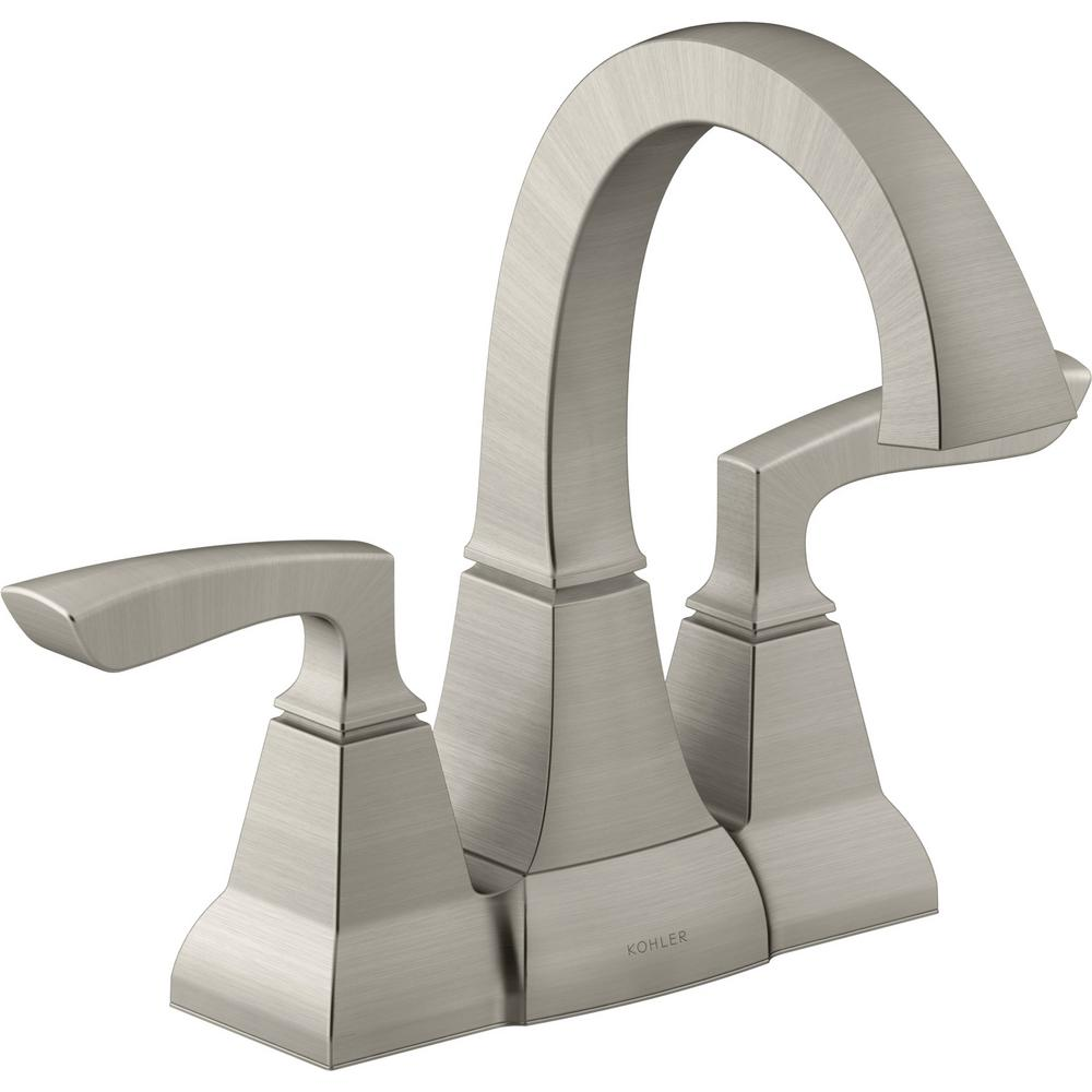 Kallan 4 in. Centerset 2-Handle Bathroom Faucet in Vibrant Brushed Nickel