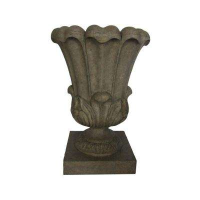 20-1/2 in. x 29 in. Cast Stone Large Leaf Urn in Special Aged Granite