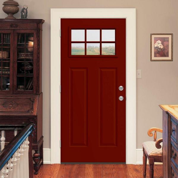 Jeld Wen 32 In X 80 In 6 Lite Craftsman Mesa Red Painted Steel Prehung Inswing Right Hand Front Door W Brickmould Thdjw167700822 The Home Depot