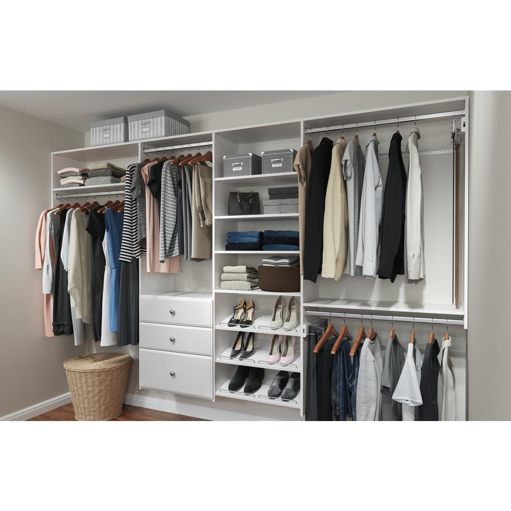 Closet Evolution Dual Tower 96 in. W - 120 in. W Classic White Wood Closet System
