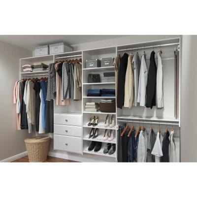 Dual Tower 96 in. W - 120 in. W Classic White Wood Closet System