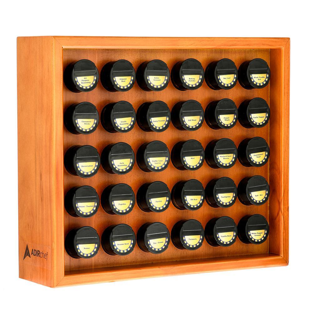 AdirHome 30.4 oz. Jars Espresso Wood Spice Rack (31-Piece)