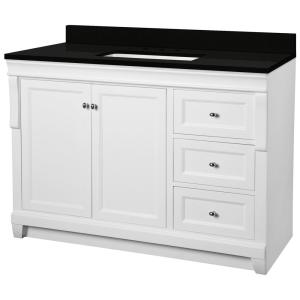 Naples 49 in. W x 22 in. D Bath Vanity in White with Granite Vanity Top in Midnight Black with Trough White Basin