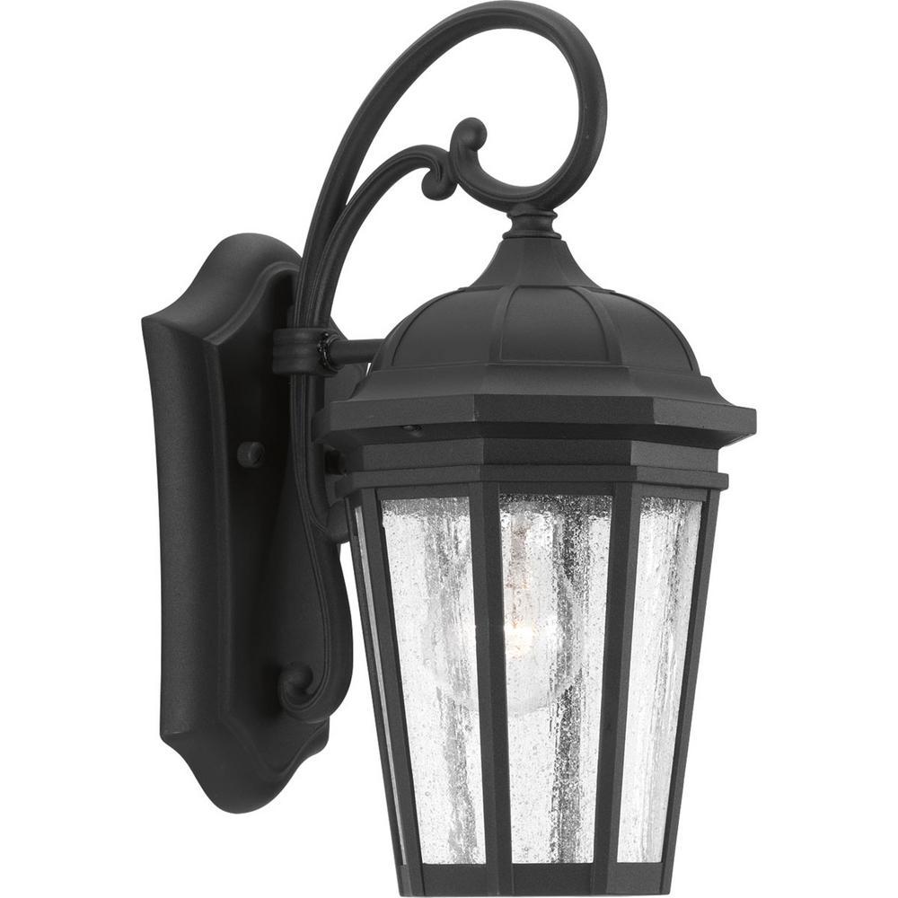 Verdae Collection 1-Light Outdoor Black Wall Lantern