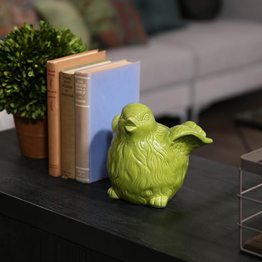 7 in. H Bird Decorative Figurine in Green Gloss Finish