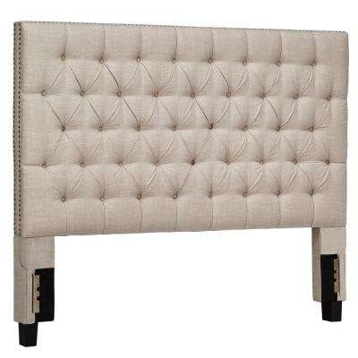 Lincoln Park Button Tufted Beige King Headboard
