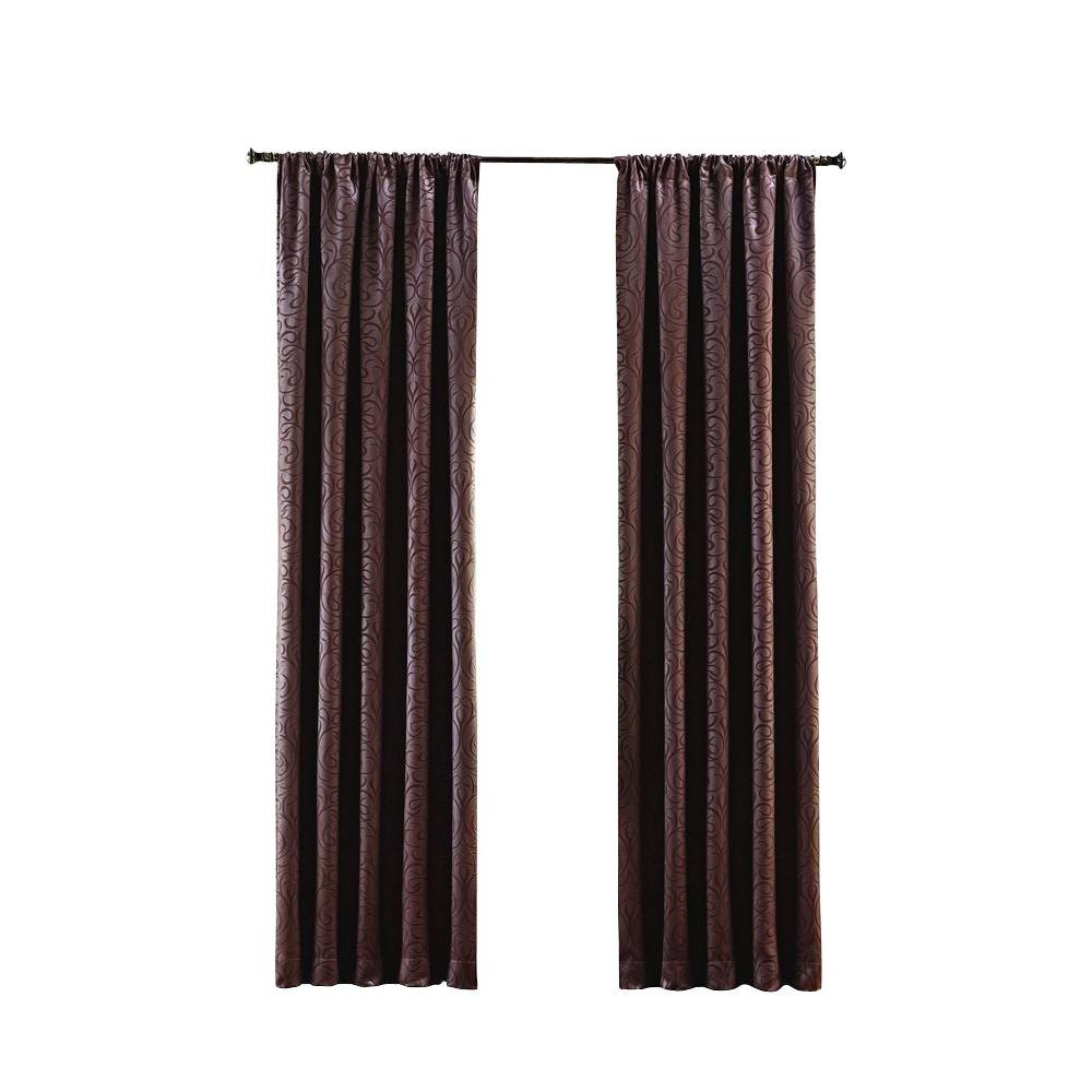 Home Decorators Collection Brown Stylized Scroll Embossed Darkening Curtain 50 In W X 108 In