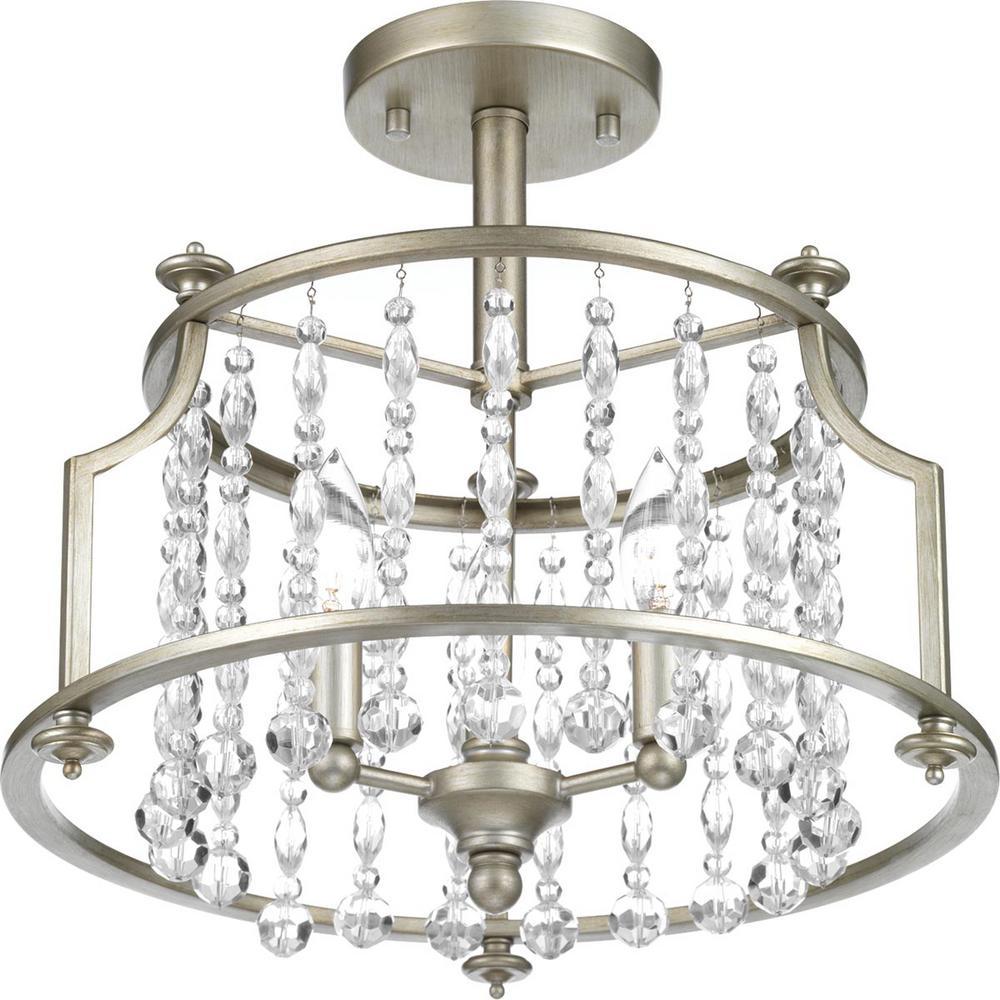 Desiree Collection 3-Light Silver Ridge Semi-Flush Mount