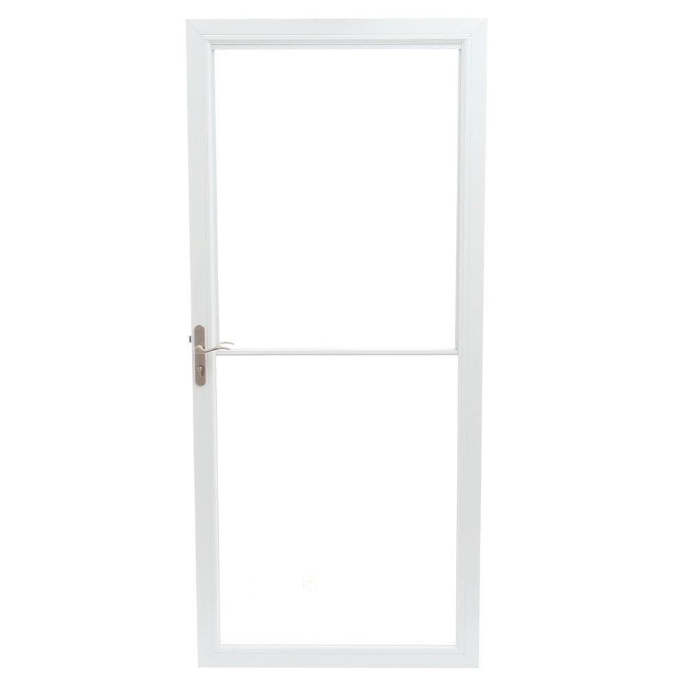 Andersen 36 in  x 80 in  2500 Series White Universal Self-Storing Aluminum  Storm Door with Nickel Hardware